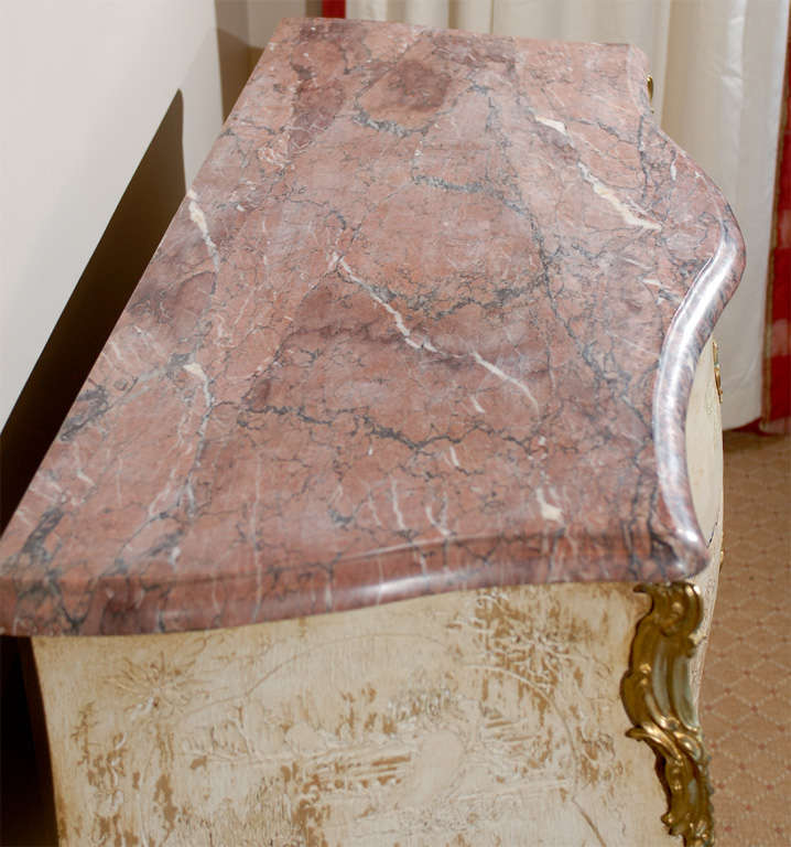 Antique French Bombe Commode Chest Rose Marble, circa 1840 For Sale 2