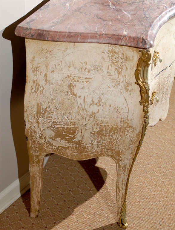 Antique French Bombe Commode Chest Rose Marble, circa 1840 For Sale 3