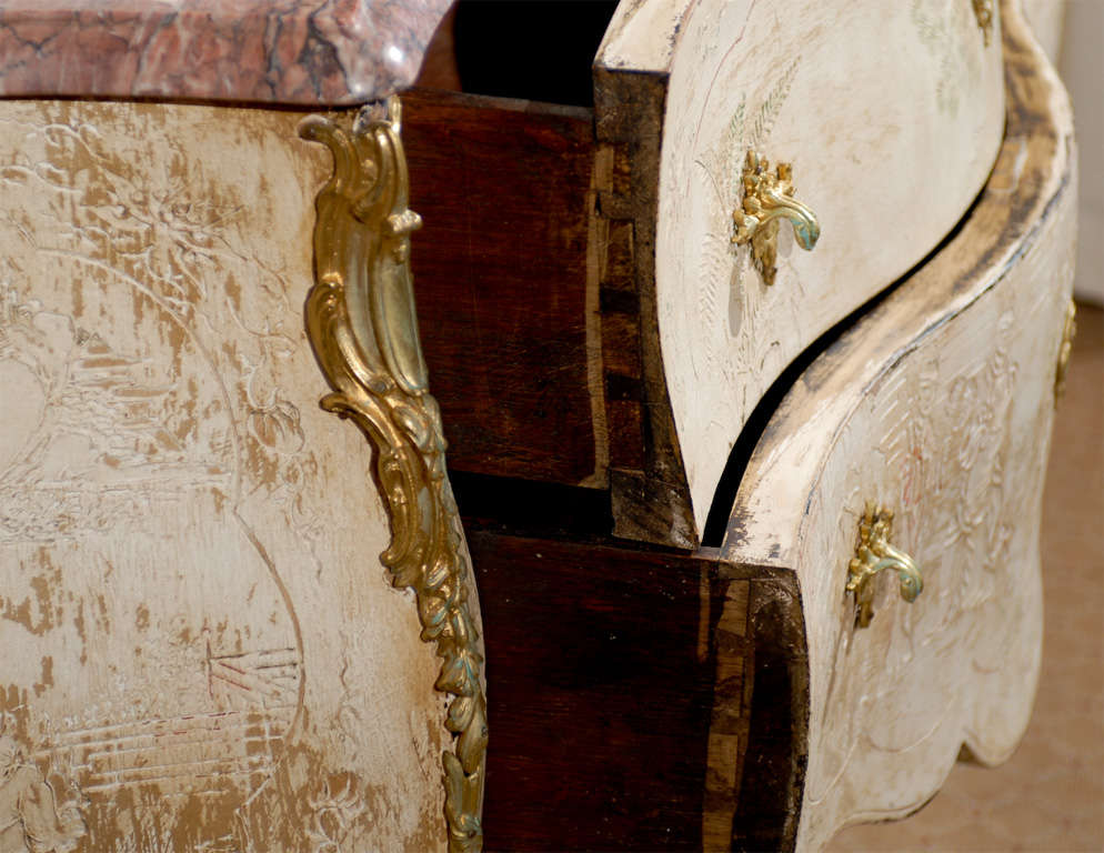 Antique French Bombe Commode Chest Rose Marble, circa 1840 For Sale 4