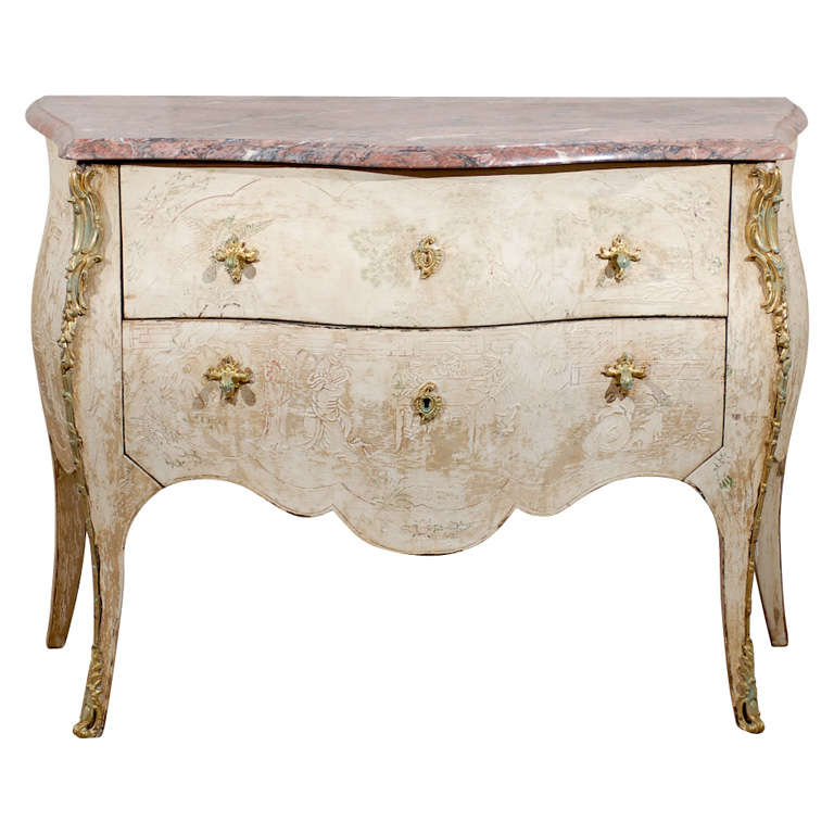 Antique French Bombe Commode Chest Rose Marble, circa 1840 For Sale