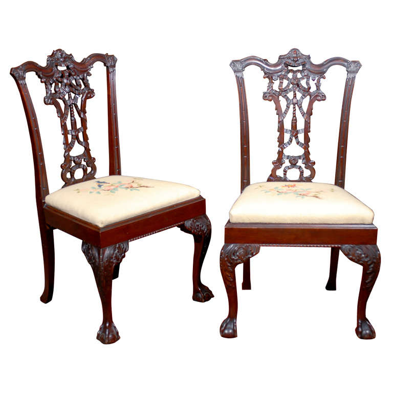 Georgian Style Carved Mahogany Ribbon Back Dining Chairs