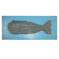 Hand-Carved Whale on Plaque