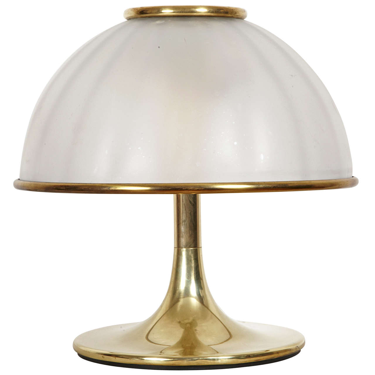 Gilt Brass and Glass Table Lamp, Italy, 1970s