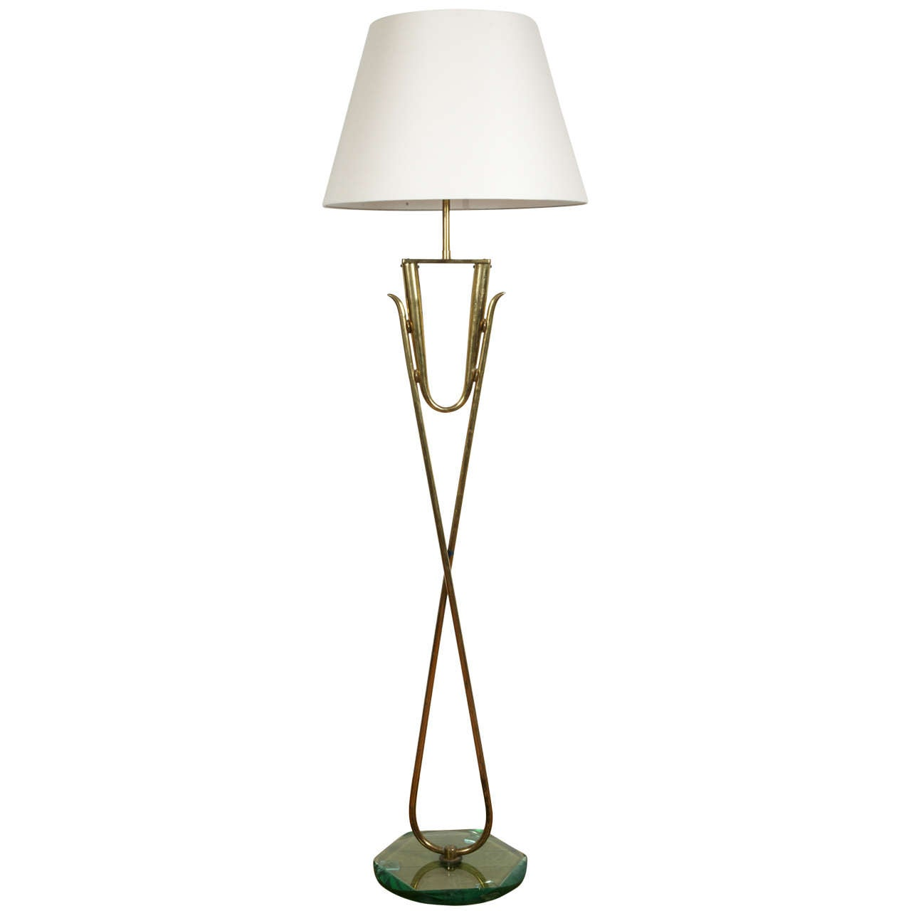 Floor Lamp 1960s : Gilt brass and glass floor lamp italy  s for sale at