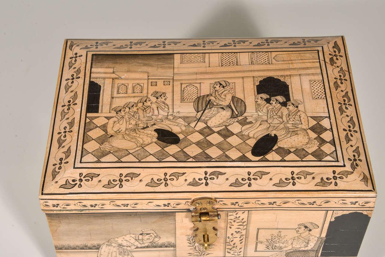 Anglo Raj Camel Bone Box For Sale