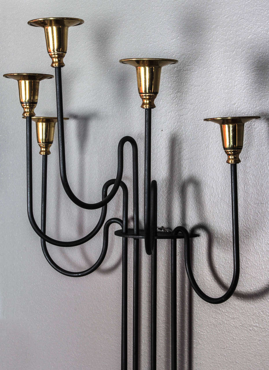 Swedish Wall Brass and Iron Candle Sconce For Sale at 1stdibs