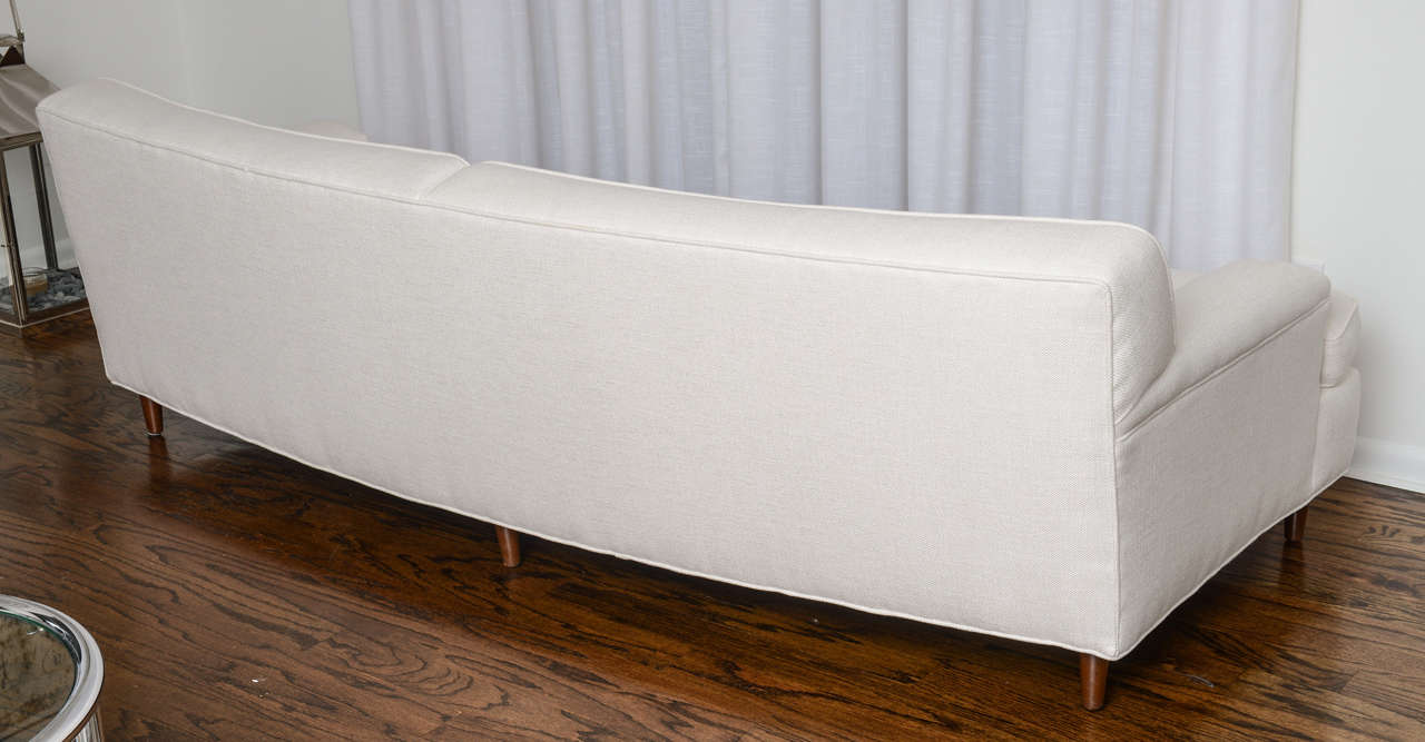 Mid Century Modern Curved Sofa in White Fabric by Edward