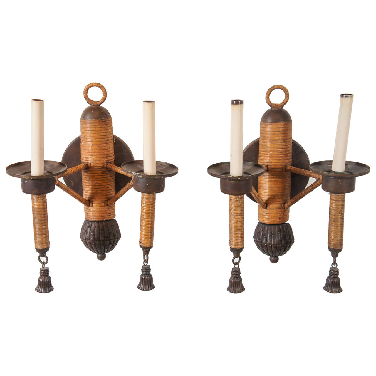 A Pair of Rattan and Iron Double Arm Sconces at 1stdibs