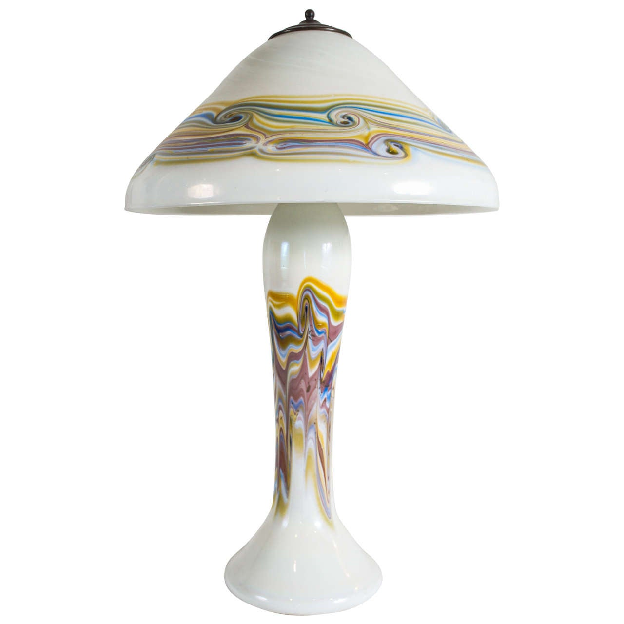 tiffany style swirled glass lamp with glass shade for sale at 1stdibs. Black Bedroom Furniture Sets. Home Design Ideas