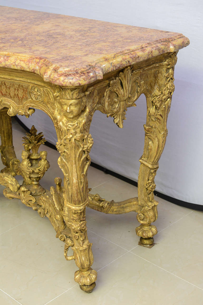 Fine regence or early louis xv giltwood and marble top console fine regence or early louis xv giltwood and marble top console table 3 geotapseo Images