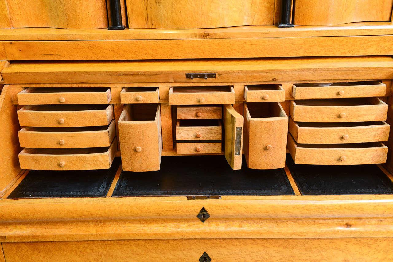 Biedermeier Burled Birch Bureau Cylindre Desk Sweden For