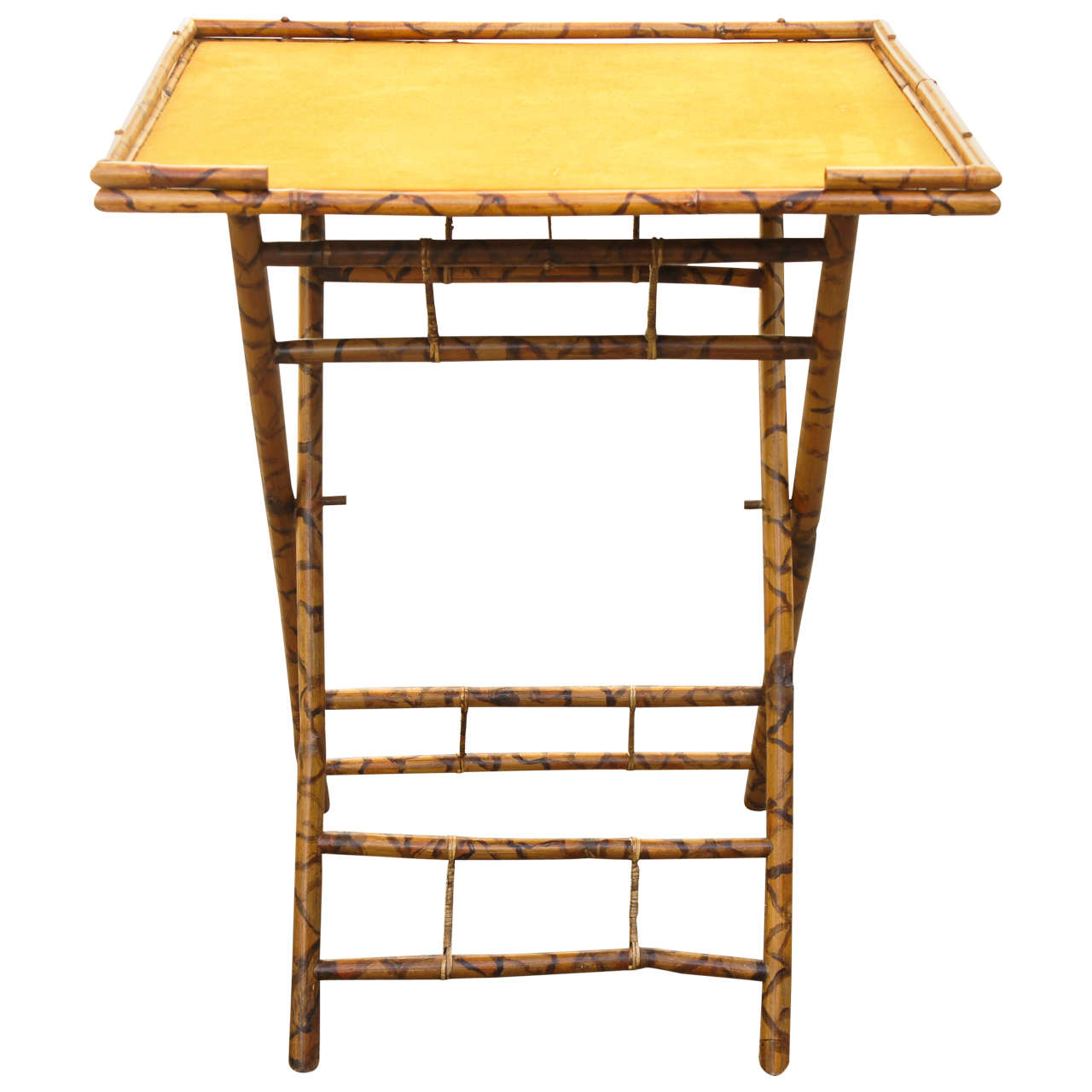 Late 19th Century Burnt Bamboo Folding Table For Sale at 1stdibs