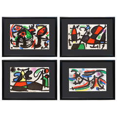 Collection of Four Pencil, Signed Miro Lithographs