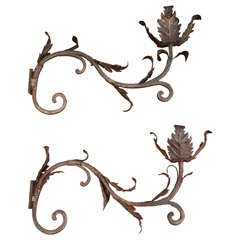 Pair of 18th Century Wrought Iron Picket Sconces