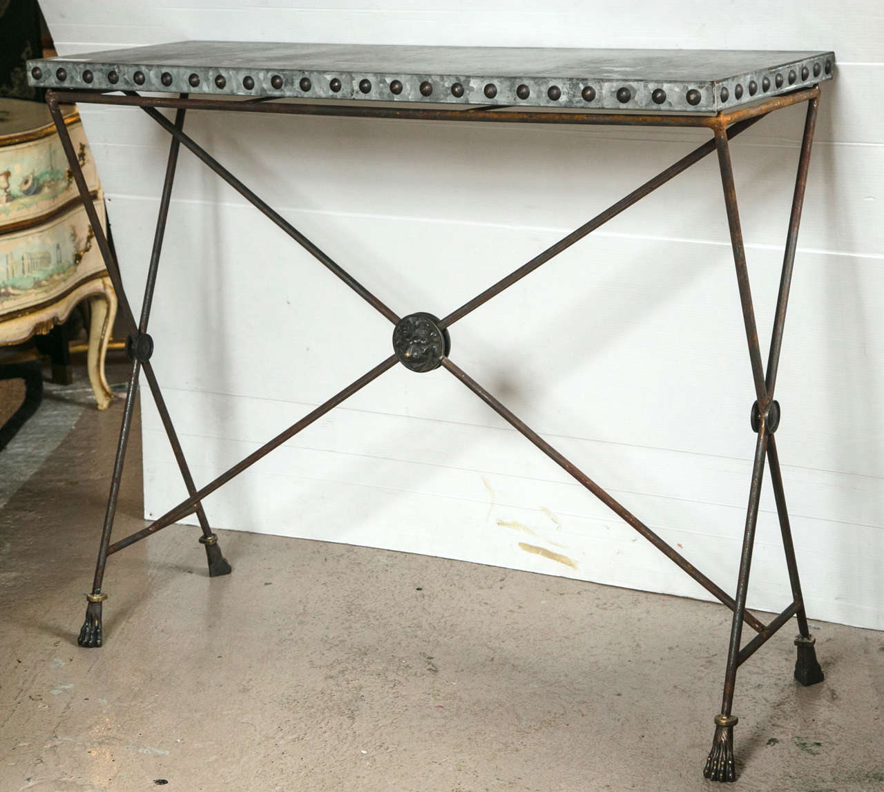 Pair Of Iron Zinc Top X Form Console Tables A Finely Crafted