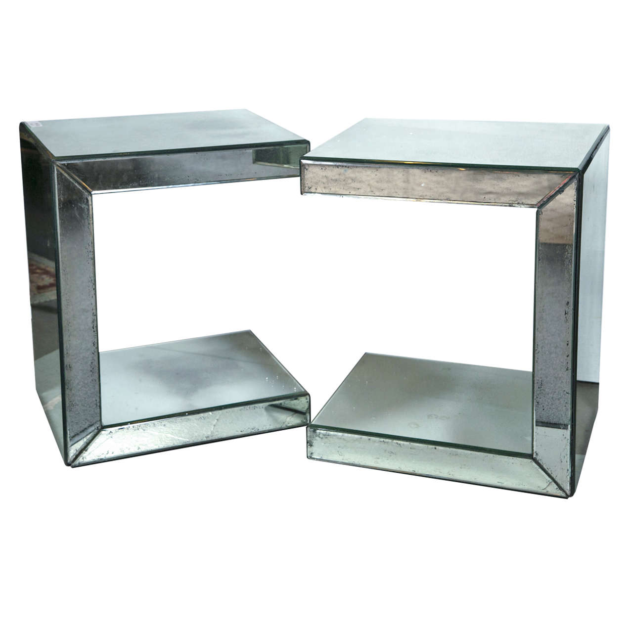 Pair of hollywood regency style c shaped mirrored end tables for sale
