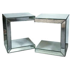 Pair of Hollywood Regency Style C-Shaped Mirrored End Tables