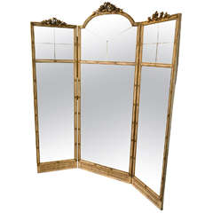 Three-Panel Hollywood Regency Room Divider or Screen in the Manner of Jansen