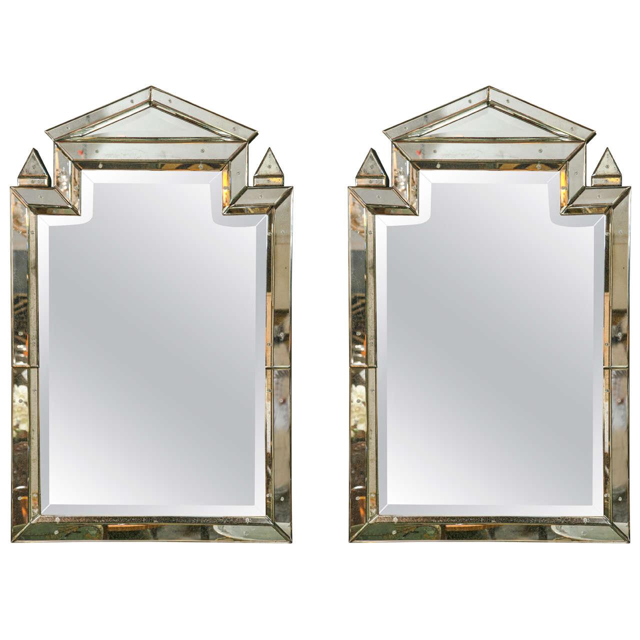 Pair of Piedmont Hollywood Regency Style Venetian Mirrors