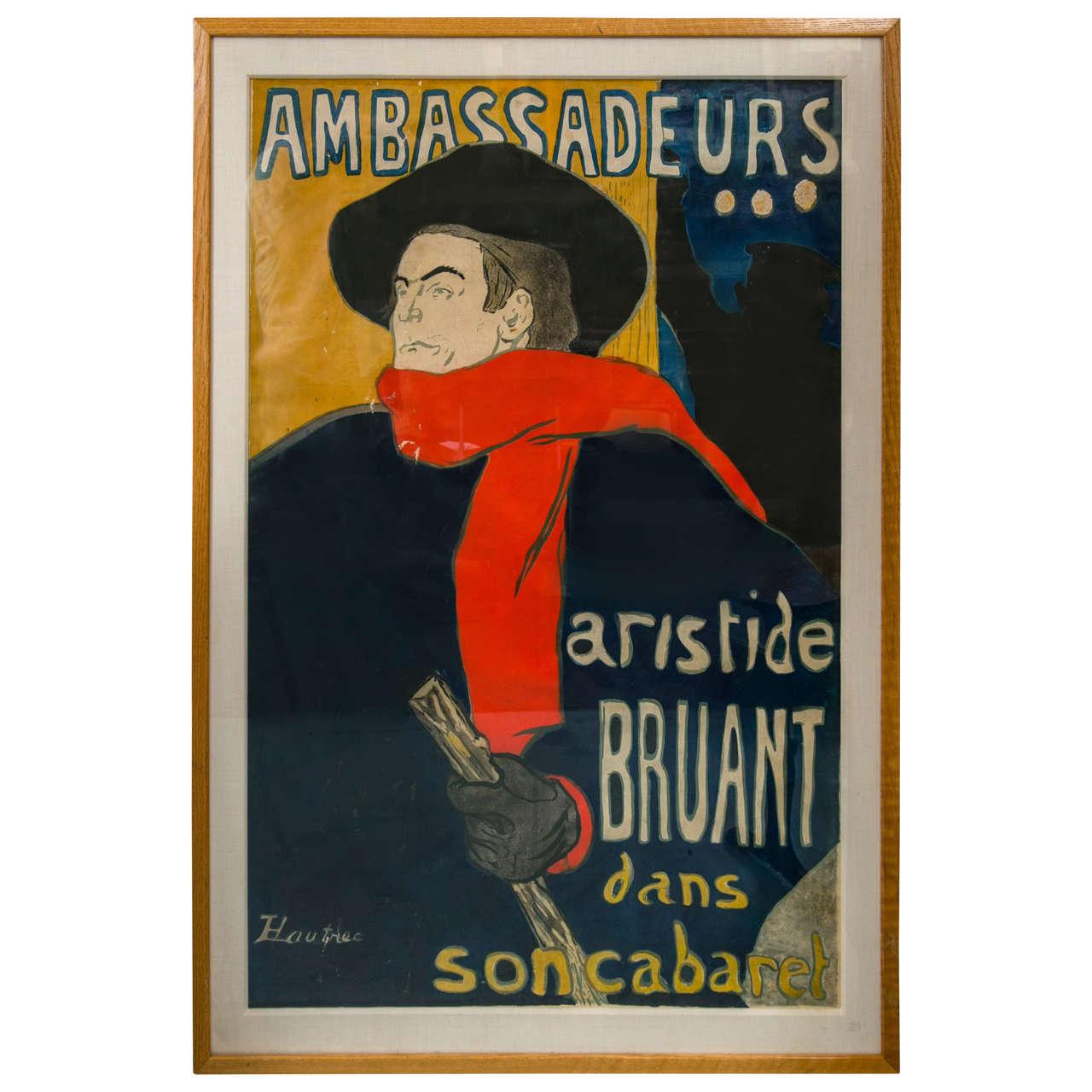 Home Decor Antiques Henri De Toulouse Lautrec Poster Of Aristide Bruant At 1stdibs