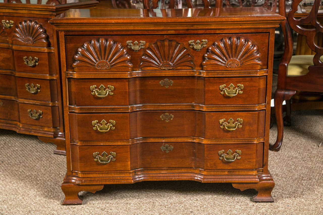 Pair Of Shell Chippendale Style Block Front Chests. Each Custom Quality, American  Drew,
