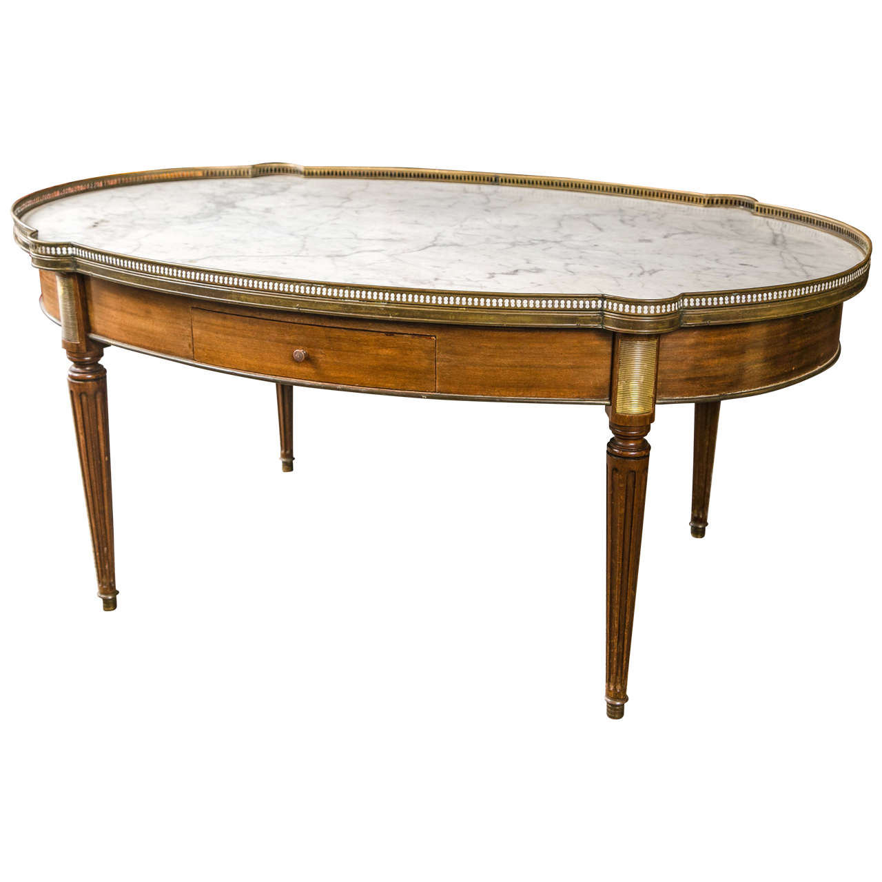 Louis XVI Style Marble-Top Low Table Or Coffee Table By