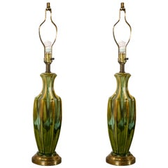 Pair of Art Deco Style Green Murano Glass Lamps c.1940s-1950s