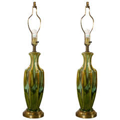 Pair of Art Deco Style Murano Glass Lamps c.1940s-1950s