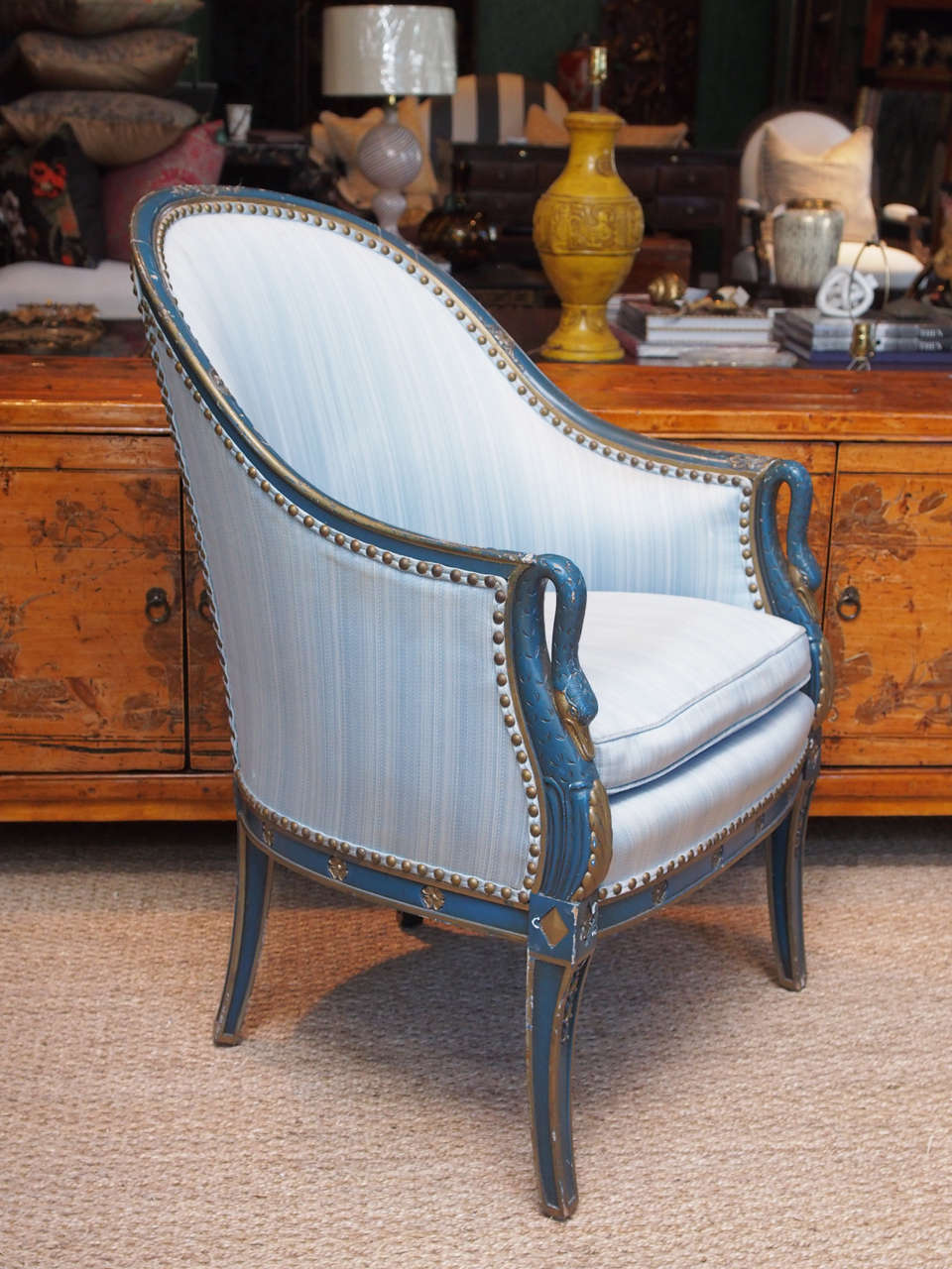 Etonnant Directoire Pair Blue Gooseneck Bergere Chairs For Sale