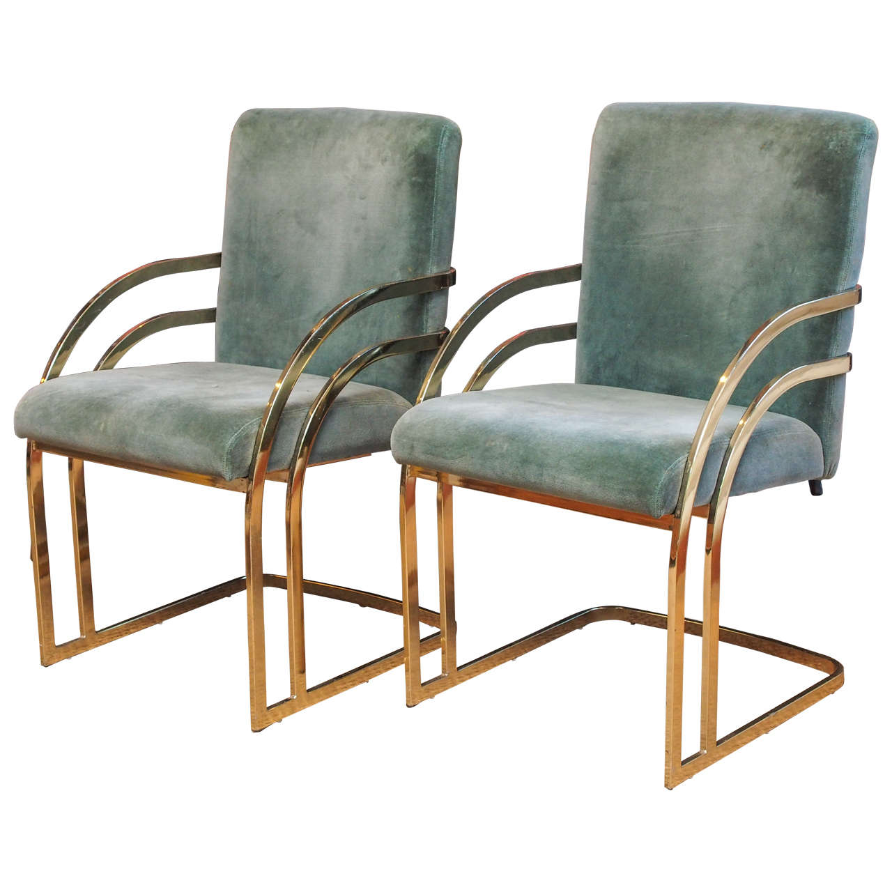Delicieux Pair Of Brass Cantilever Chairs For Sale