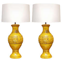 Pair of Marigold Ceramic Lamps, circa 1960s