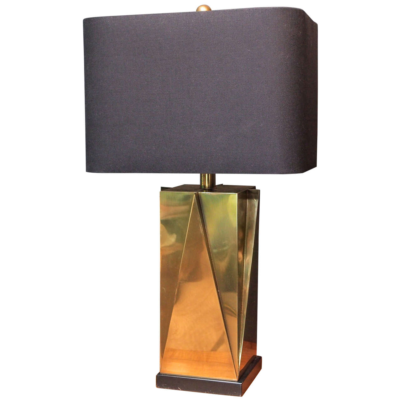 Geometric brass lamp set on black square base at 1stdibs geometric brass lamp set on black square base for sale aloadofball Gallery