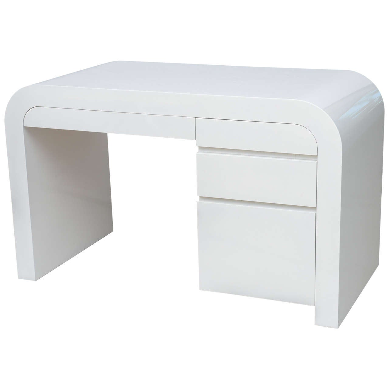 Exceptional Mid Century Modern White Lacquer Desk At 1stdibs