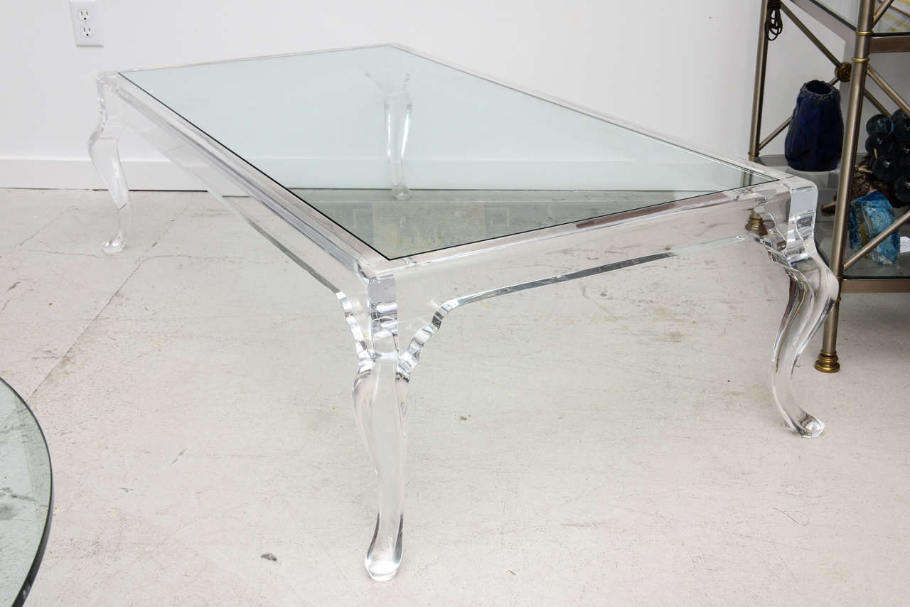 Lucite Coffee Table With Cabriole Legs At 1stdibs