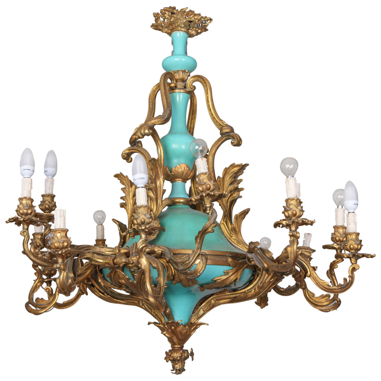 Chandelier in Gilded Bronze and Porcelain at 1stdibs
