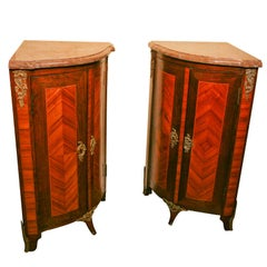 Pair Early 20th C. Louis XV  Style Marble Top Corner Cabinets