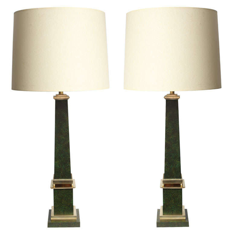 Pair of Classical Modern Obelisk Table Lamps