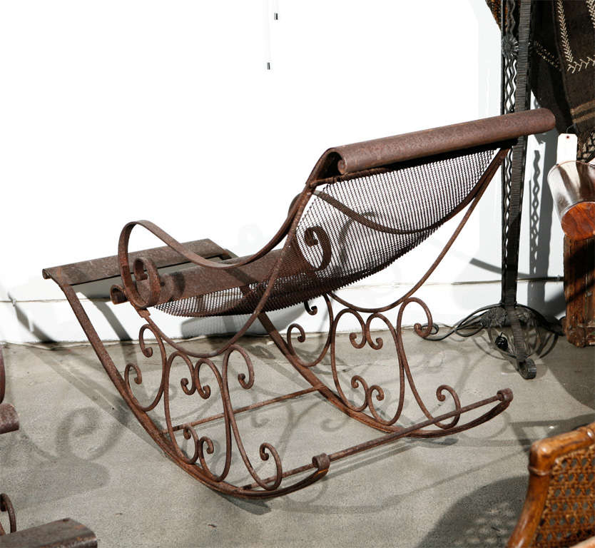 Outdoor Hand Forged Wrought Iron Rocking Chairs At 1stdibs