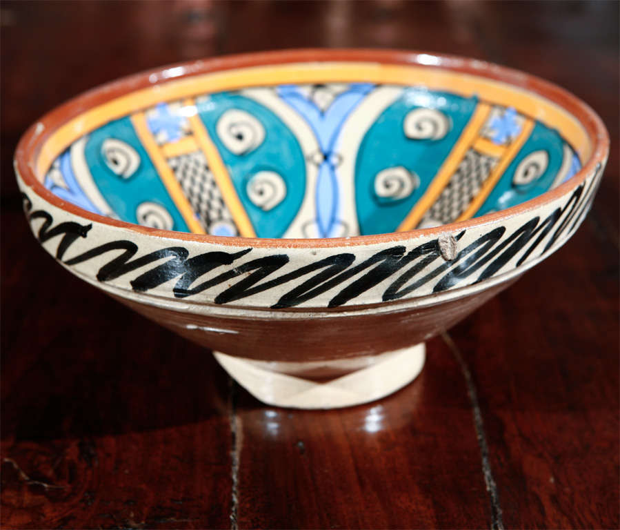 Folk Art Moroccan Antique Pottery Bowl For Sale
