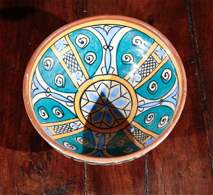 Hand-Crafted Moroccan Antique Pottery Bowl For Sale