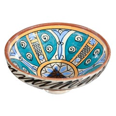 Moroccan Antique Under-glazed Hand painted Pottery Bowl