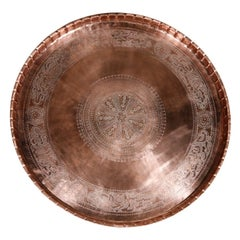 Large Persian Mameluke Copper Tray with Arabic Calligraphy Writing