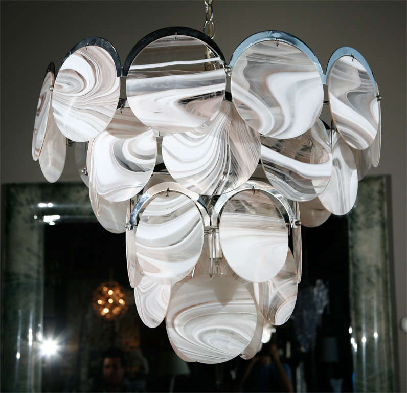Italian Modernist Agate Glass Chandelier 3