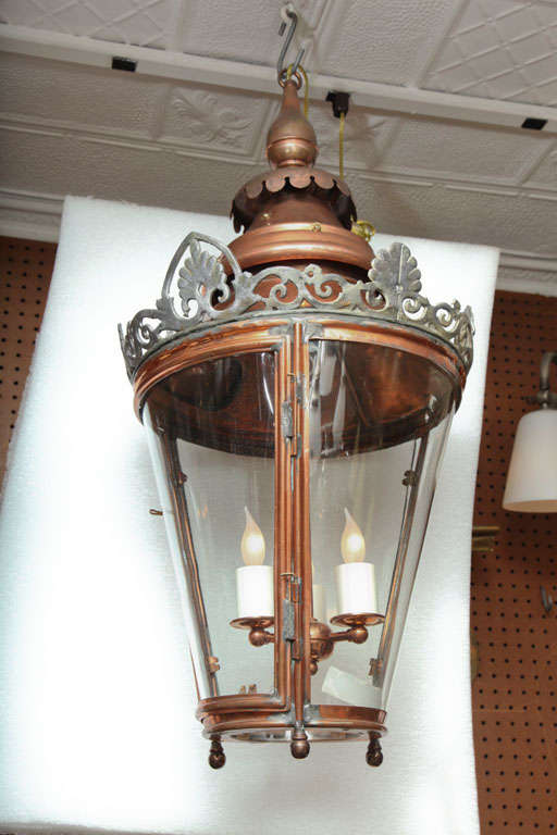 Pair of conical lanterns with three bent glass panels. Newly electrified.