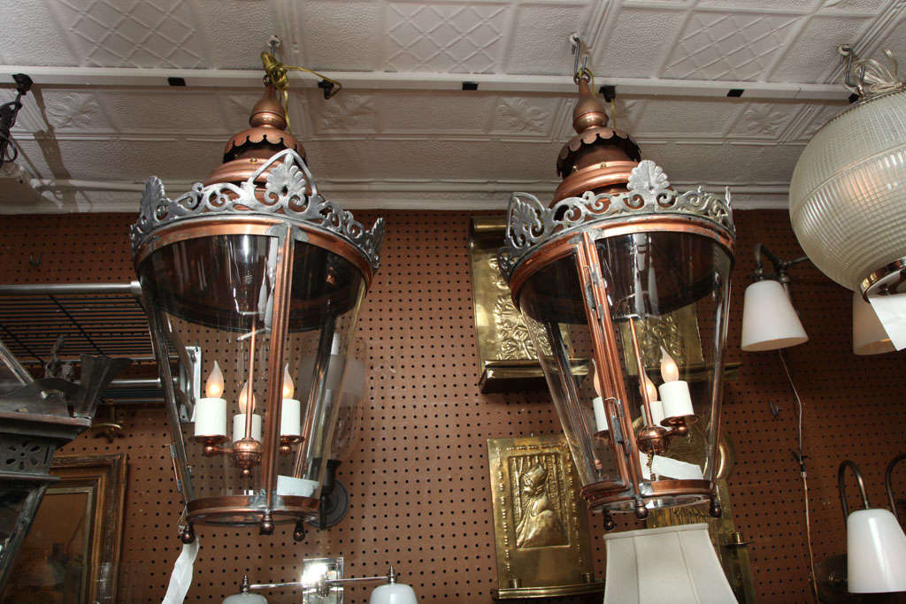 Pair of Conically Shaped Lanterns For Sale 5