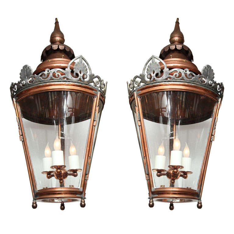 Pair of Conically Shaped Lanterns For Sale