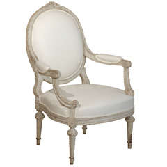 19th Century French Grey Painted Louis XVI style Chair, Circa 1880