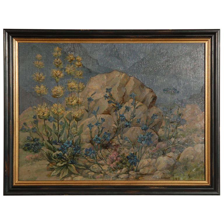 German Mountain Landscape Oil Painting, circa 1940