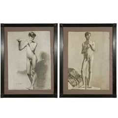 Pair of Charcoal Italian Male Nude Drawings from 1880