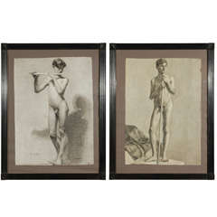Set of Two Male Nude Charcoal Drawings, circa 1880